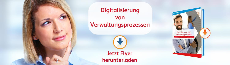 Flyer Download: Digitalisierung von Verwaltungsprozessen mit der X-NRW GmbH